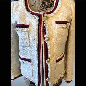 JCrew cotton tweed Fringy blazer